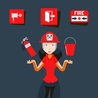 Ilustracja znak bezpieczeństwa pożarowego. obraz pomocy w nagłych wypadkach, płomień w pomieszczeniu. dziewczyna w kasku pokaż gaśnicę