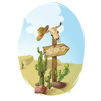 Ilustracja znak dzikiego zachodu