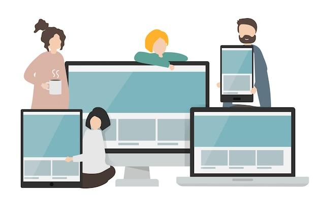 Ilustracja znaków i szablony stron internetowych