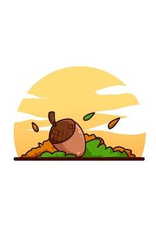 Ilustracja żołądź na zachodzie słońca