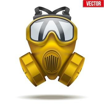 Ilustracja żółtej maski gazowej. gumowy symbol ratownika obrony i ochrony. na białym tle.