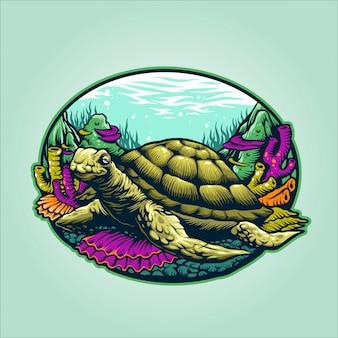 Ilustracja żółw podmorski