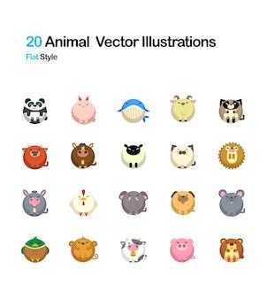 Ilustracja zwierząt płaskie