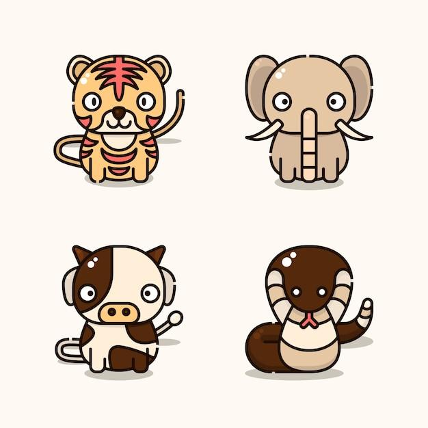 Ilustracja zwierząt uważanych za święte w indiach. takich jak tygrys, słoń, krowa i wąż.