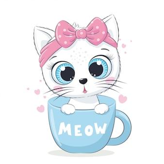 Ilustracja zwierząt z ładny mały kot w filiżance.