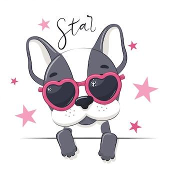 Ilustracja zwierząt z pieskiem cute girl w okularach.