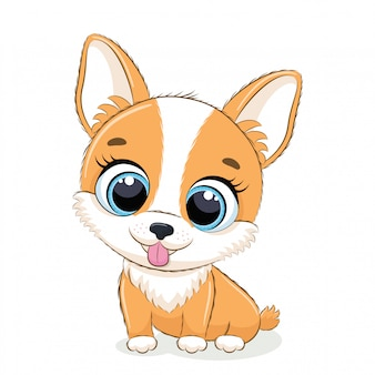 Ilustracja zwierząt z uroczym małym psem.