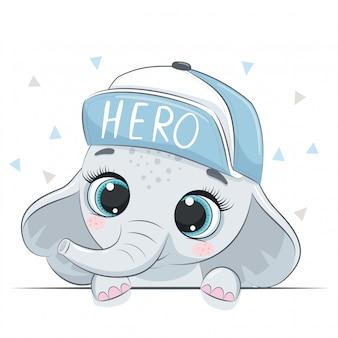 Ilustracja Zwierząt Z Uroczym Słoniem Chłopca W Czapce. Premium Wektorów