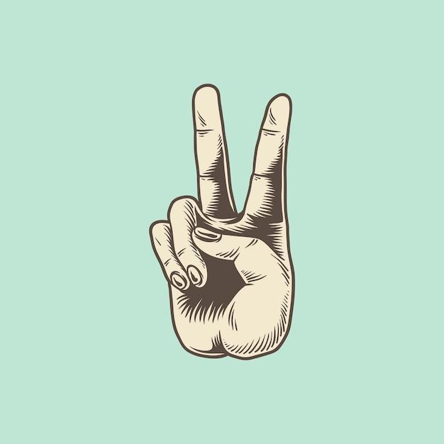 Ilustracja zwycięstwo ręki znak