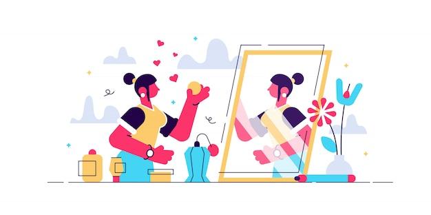 Ilustracja życia codziennego piękna. koncepcja osoby płaski makijaż mała kobieta. pielęgnacja skóry, kosmetologia i pielęgnacja włosów jako codzienna pielęgnacja kobiecej łazienki. branża modowa dla atrakcyjnej kobiety