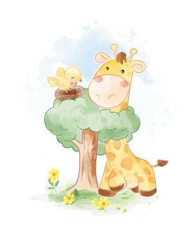 Ilustracja żyrafa i gniazdo ptaka kreskówki