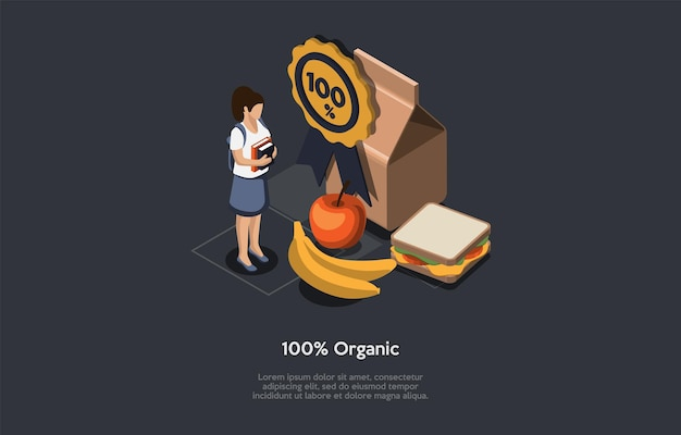 Ilustracja żywności ekologicznej, styl kreskówka 3d.