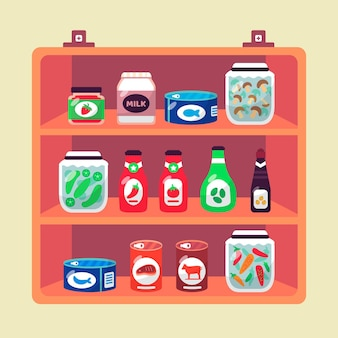 Ilustracja żywności płaskiej spiżarni