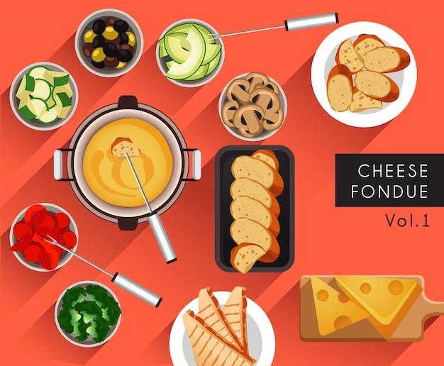 Ilustracja żywności: zestaw do serowego fondue