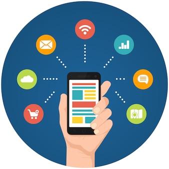 Ilustracje aplikacji na smartfony z ręką trzymającą telefon z połączonymi okrągłymi ikonami