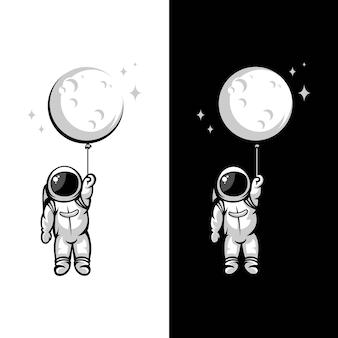 Ilustracje balon księżyca astronauta