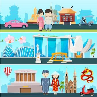 Ilustracje banerów wschodnich krajów wietnamu, tajlandii i singapuru. budynek architektury i kultury kraju azjatyckiego, kulturowy narodowy wschód