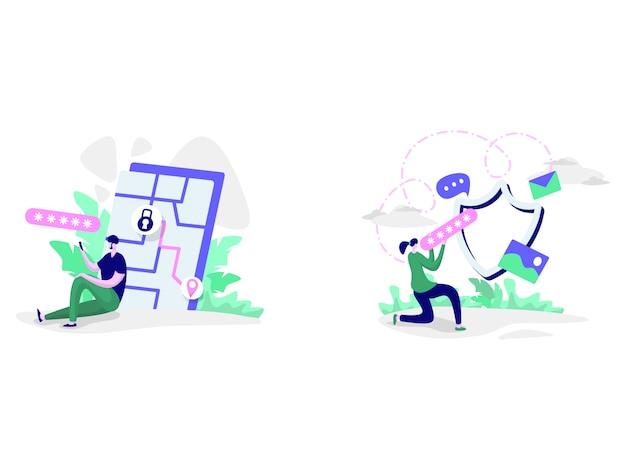Ilustracje bezpieczeństwa sieci społecznej