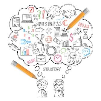 Ilustracje biznesowe koncepcje w stylu wyciągnąć rękę. zestaw doodles wektor
