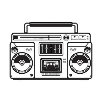 Ilustracje boombox na białym tle. element na logo, etykietę, godło, znak, odznakę, plakat, koszulkę. wizerunek