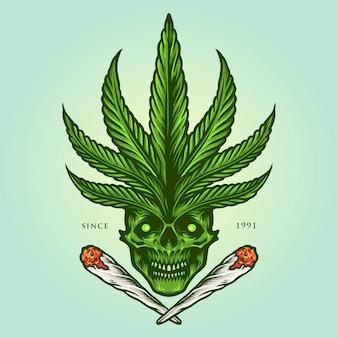 Ilustracje cannabis skull joint weed smoke