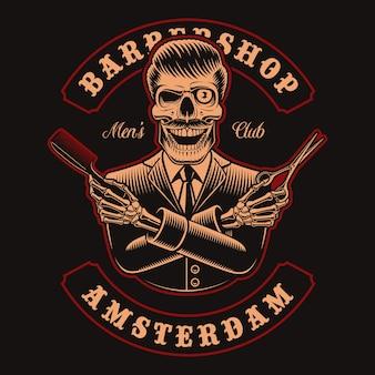 Ilustracje czaszki fryzjera z nożyczkami i grzebieniem na ciemnym tle. jest to idealne rozwiązanie do logo, nadruków na koszulach i wielu innych zastosowań.