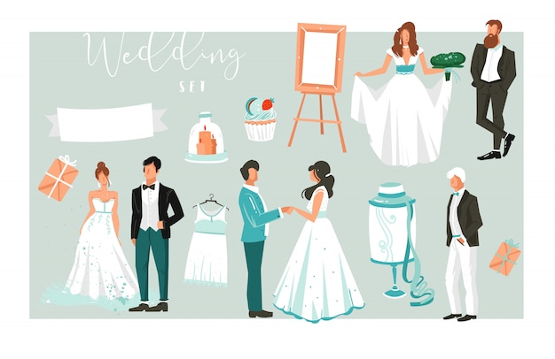 Ilustracje de elementy duży zestaw szczęśliwych właśnie małżeństw ludzi, ciasta i ikony do zapisywania kart daty na białym tle