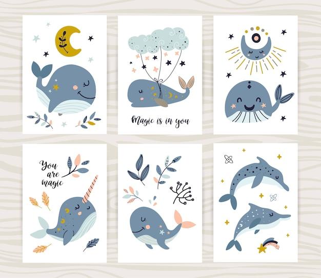Ilustracje dla dzieci z wielorybami
