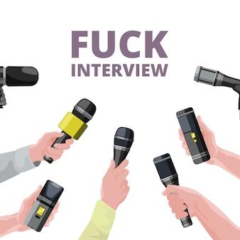 Ilustracje do codziennych wiadomości. trzymając się za ręce mikrofony. wywiad na temat transparentu mikrofonu, dziennikarstwa i raportu