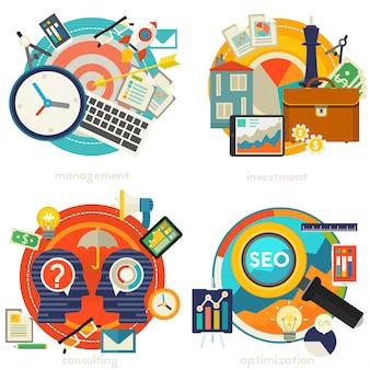 Ilustracje dotyczące koncepcji doradztwa, zarządzania, inwestycji i strategii