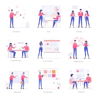 Ilustracje dotyczące pracy, pracy zespołowej i hr