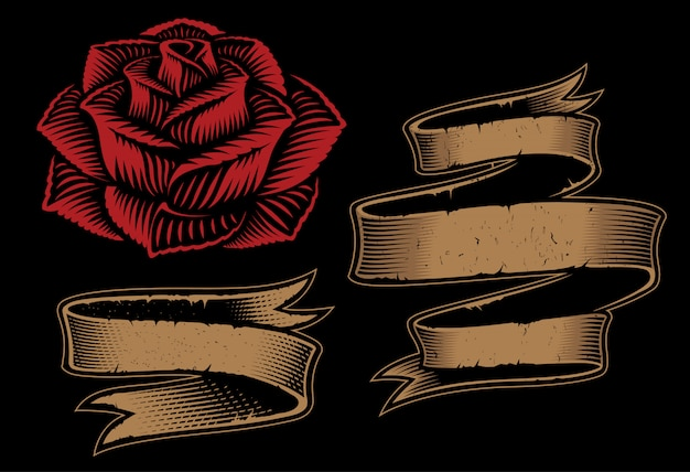 Ilustracje dwóch wstążek i róż do projektowania na ciemnym tle.