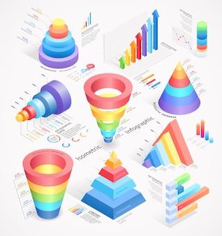 Ilustracje elementów izometrycznych infografiki