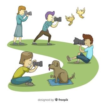 Ilustracje fotografów wykonujących swoją pracę