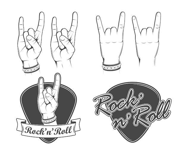 Ilustracje gest rocka