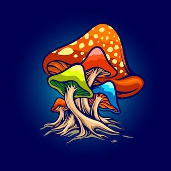 Ilustracje grzybów czerwonych grzybów