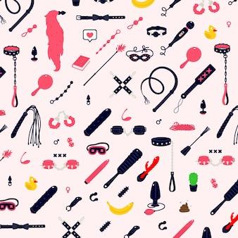 Ilustracje i ikony zabawek erotycznych. kneblowanie, rzęsy i kajdanki kneblujące. zabawki dla dorosłych.