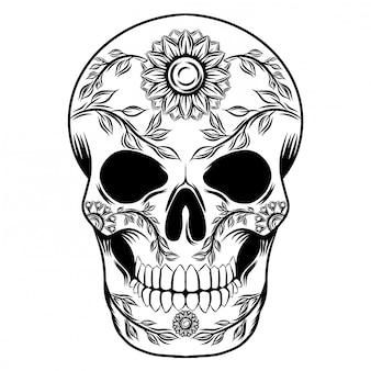 Ilustracje ilustracja dnia zmarłej czaszki z kwiatami słońca
