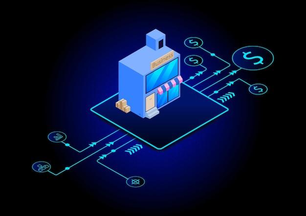 Ilustracje izometryczne tła. technologia informacyjna i koncepcja biznesowa.
