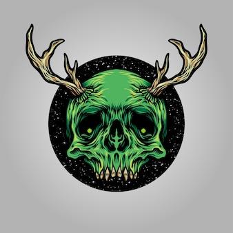 Ilustracje jelenia rogów czaszki