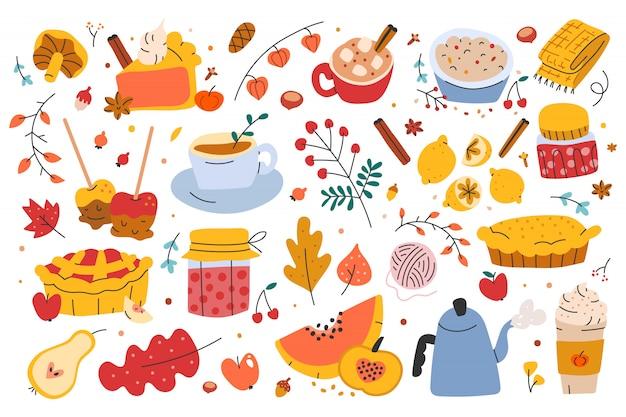 Ilustracje jesiennych sezonowych potraw i napojów
