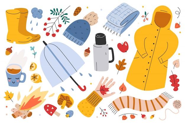 Ilustracje jesiennych ubrań sezonowych i akcesoriów
