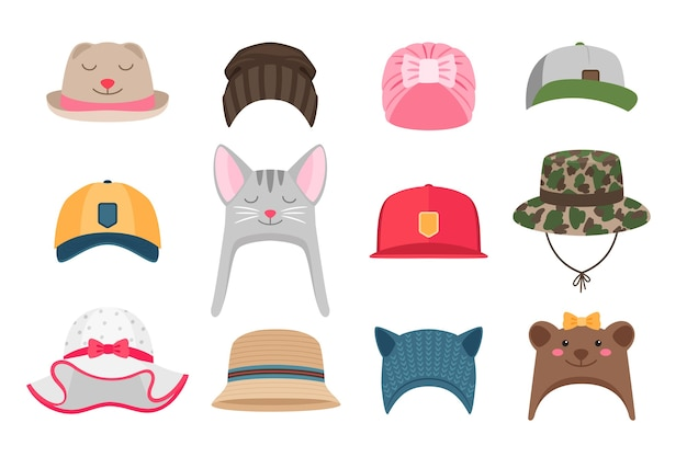 Ilustracje kapeluszy dla dzieci. komplet czapek dla dzieci, zimowy i letni, ze zwierzętami dla dziewczynek i dla harcerzy na białym tle