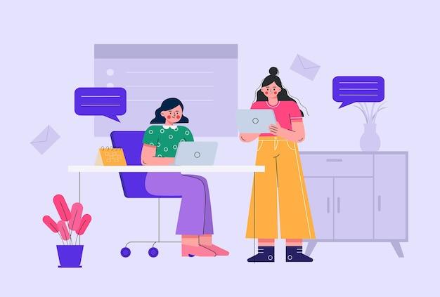 Ilustracje kobiet biurowych omawiających pracę w biurze