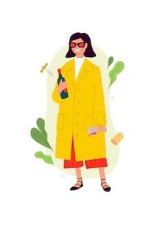 Ilustracje kobiety z kieliszkiem wina i butelką w żółtym płaszczu.