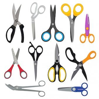 Ilustracje kolorowych nożyczek. zdjęcia wektorowe ustawione w stylu płaskiego