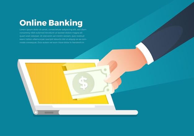 Ilustracje koncepcja bankowości internetowej i pieniędzy. ręka trzymać pieniądze na ekranie notebooka