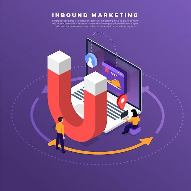 Ilustracje koncepcja marketingu przychodzącego