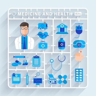 Ilustracje koncepcja medyczny i zdrowy wektor