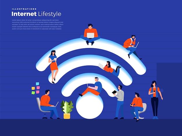 Ilustracje koncepcja płaska konstrukcja ludzie styl życia używają smartfona i komputera z bezprzewodowym dostępem do internetu